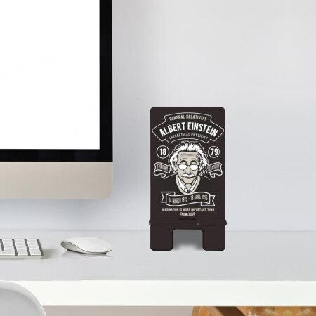Albert Einstein Temalı Ahşap Telefon Standı
