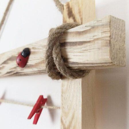 İpli Mandallı Eskitme Ahşap Çerçeve 60x45 cm