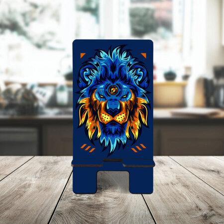 Mavi Aslan Desenli Telefon Standı