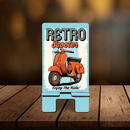 Retro Scooter Desenli Telefon Standı