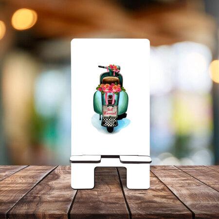 Telefon Standı Scooter Desenli Ahşap
